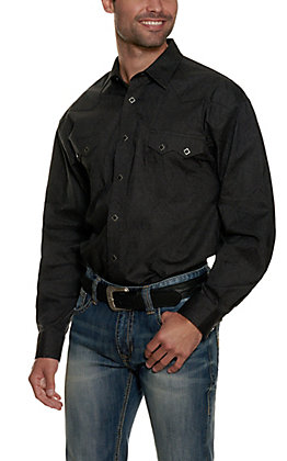 Panhandle Men's Black with Grey Paisley Print Long Sleeve Stretch Western Shirt - Cavender's Exclusive
