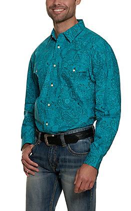 Panhandle Men's Turquoise Paisley Print Long Sleeve Western Shirt - Cavender's Exclusive