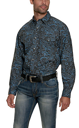 Panhandle Men's Black with Grey & Blue Print Long Sleeve Stretch Western Shirt - Cavender's Exclusive