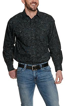 Panhandle Men's Black Paisley Long Sleeve Western Shirt