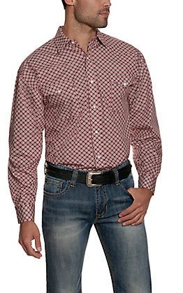 Panhandle Men's Scarlet Red with Black & White Medallion Print Long Sleeve Western Shirt