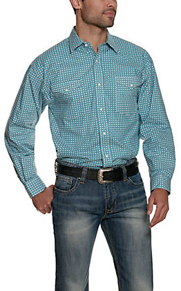 Panhandle Men's White with Turquoise Medallion Print Long Sleeve Stretch Western Shirt - Cavender's Exclusive