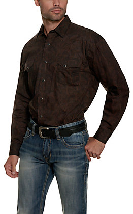 Panhandle Men's Black with Brown Paisley Print Long Sleeve Western Shirt - Cavender's Exclusive