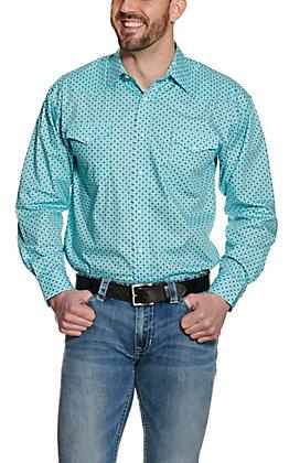 Panhandle Men's Light Turquoise Geo Print Long Sleeve Western Shirt