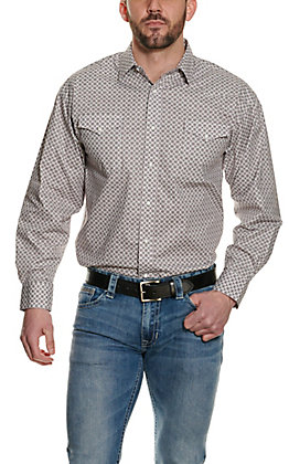 Panhandle Men's White Geo Print Long Sleeve Western Shirt