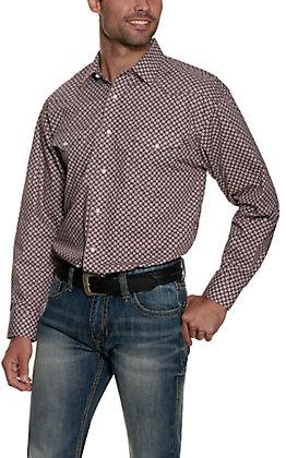 Panhandle Men's Maroon with White Geo Print Long Sleeve Western Shirt - Cavender's Exclusive