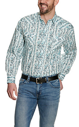 Panhandle Men's Paisley Turquoise Long Sleeve Western Shirt