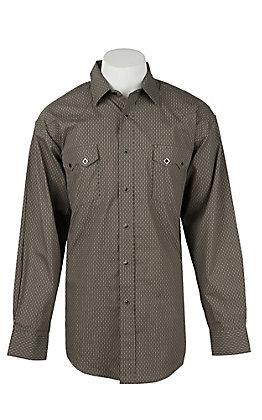 Panhandle Men's Grey Grill Print Long Sleeve Western Shirt