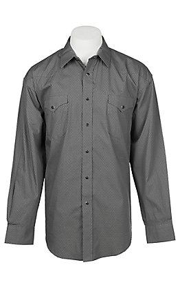 Panhandle Men's Grey Mini Print Long Sleeve Western Shirt