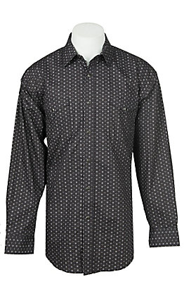 Panhandle Men's Black Mini Print Long Sleeve Western Shirt