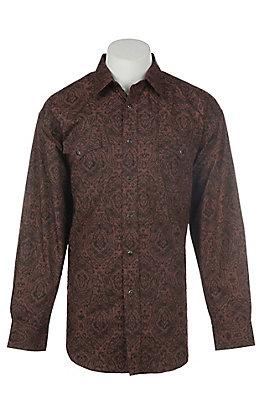Panhandle Men's Black Paisley Print Long Sleeve Western Shirt