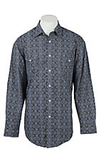 Panhandle Men's Blue Aztec Paisley Print Long Sleeve Western Shirt