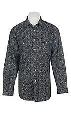 Panhandle Men's Black Paisley Print Long Sleeve Western Shirt