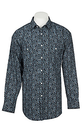 Panhandle Men's Black and Turquoise Paisley Print Long Sleeve Western Shirt