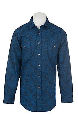 Panhandle Men's Blue Paisley Print Long Sleeve Western Shirt