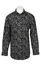 Panhandle Men's Black Paisley Print Long Sleeve Western Snap Shirt