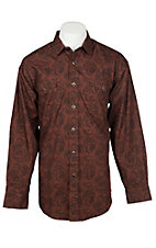 Panhandle Men's Rust Paisley Print Long Sleeve Western Snap Shirt