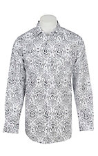 Panhandle Men's White Paisley Print Long Sleeve Western Shirt