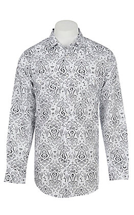 Panhandle Men's White Paisley Print Long Sleeve Western Shirt