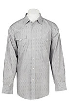 Panhandle Men's Grey Mini Print Long Sleeve Western Snap Shirt