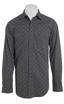Panhandle Men's Cavender's Exclusive Black Print Long Sleeve Western Shirt