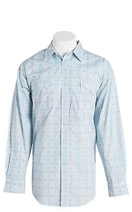 Panhandle Men's White Aztec Print Long Sleeve Western Shirt