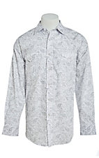 Panhandle Men's Cavender's Exclusive Grey Paisley Long Sleeve Western Shirt