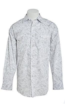 Panhandle Men's Cavender's Exclusive Grey Paisley Long Sleeve Western Shirt