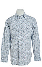 Panhandle Men's Cavender's Exclusive Big Blue Paisley Long Sleeve Western Shirt