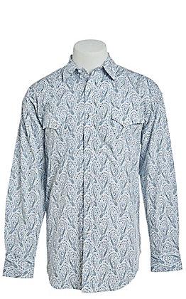 Panhandle Men's Cavender's Exclusive Big Blue Paisley Long Sleeve Western Shirt