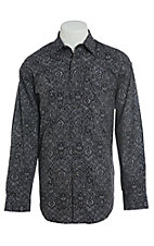 Panhandle Men's Cavender's Exclusive Black Clover Print Long Sleeve Western Shirt