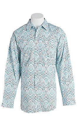 Panhandle Men's Turquoise Paisley Print Long Sleeve Western Shirt