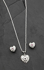 Bar V Ranch by Vogt Hand Engraved Sterling Heart with Red Stone Center Jewelry Set