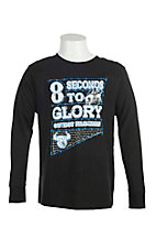 Cowboy Hardware Boy's Black with Blue & White 8 Seconds to Glory Screen Print Long Sleeve T-Shirt