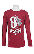 Cowboy Hardware Boys 8 Seconds to Victory Long Sleeve Red T-Shirt