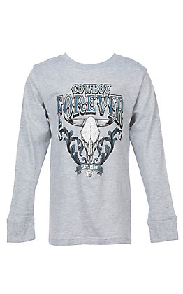 Cowboy Hardware Boys' Cowboy Forever Long Sleeve Grey T-Shirt