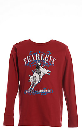 Cowboy Hardware Boy's Garnet Fearless Bullrider Long Sleeve T-Shirt