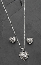 Bar V Ranch by Vogt Hand Engraved Sterling Heart with CZ Center Jewelry Set