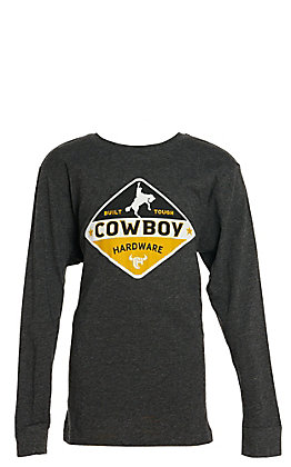 Cowboy Hardware Boys' Smoke Gray Built Tough Cowboy Hardware Logo Long Sleeve Tee