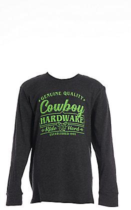 Cowboy Hardware Boy's Charcoal Ride Hard Long Sleeve T-Shirt