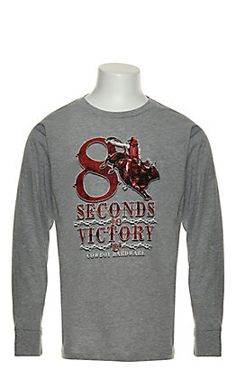 Cowboy Hardware Boy's Heather Grey with Red 8 Seconds to Victory Graphic Long Sleeve T-Shirt
