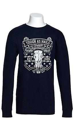 Cowboy Hardware Boys' Navy Tough As Nails Long Sleeve T-Shirt