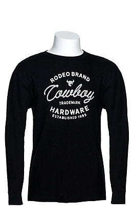 Cowboy Hardware Boy's Black Rope Logo Graphic Long Sleeve T-Shirt