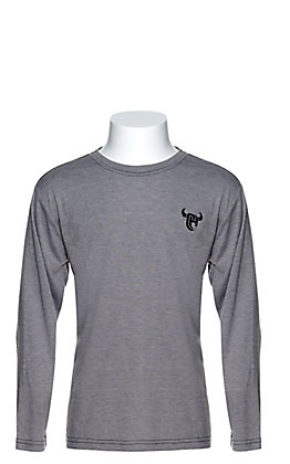 Cowboy Hardware Boys' Grey with Black Embroidered Logo Long Sleeve T-Shirt