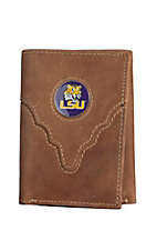 Danbury Collegiate Collection LSU Brown Tri-fold Wallet