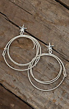 Bar V Ranch by Vogt Large Sterling Lasso and Star Dangle Post Earrings