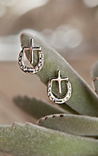 Bar V Ranch by Vogt Sterling Horseshoe and Cross Post Earrings