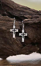 Bar V Ranch by Vogt Engraved Sterling Cross with Cutout Center Dangle Earrings
