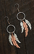 Bar V Ranch by Vogt Hand Engraved Sterling & Copper Triple Feather Dangle Earrings