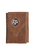Danbury Collegiate Collection Silver Texas Aggies Brown Tri-fold Wallet